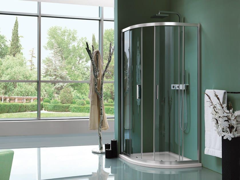 Box doccia semicircolare in vetro temperato con porta scorrevole ...