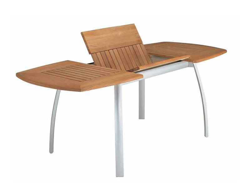 Extending rectangular teak garden table CENTRO | Extending table - FISCHER MÖBEL