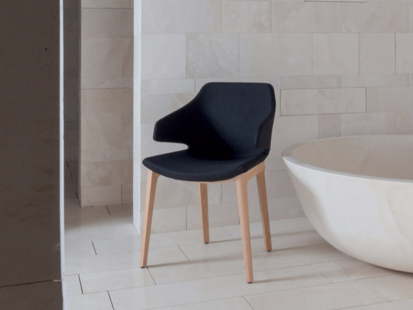 Upholstered fabric chair with armrests MERAVIGLIA | Chair by Luxy