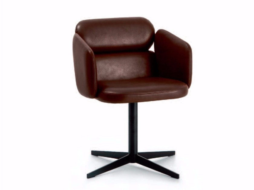 Swivel leather chair with 4-spoke base with armrests BLISS | Chair with 4-spoke base - arflex