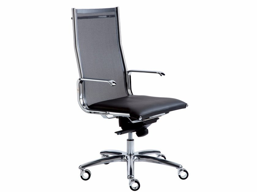 Height-adjustable executive chair with 5-spoke base with casters TAYLORD MESH | Executive chair - Luxy