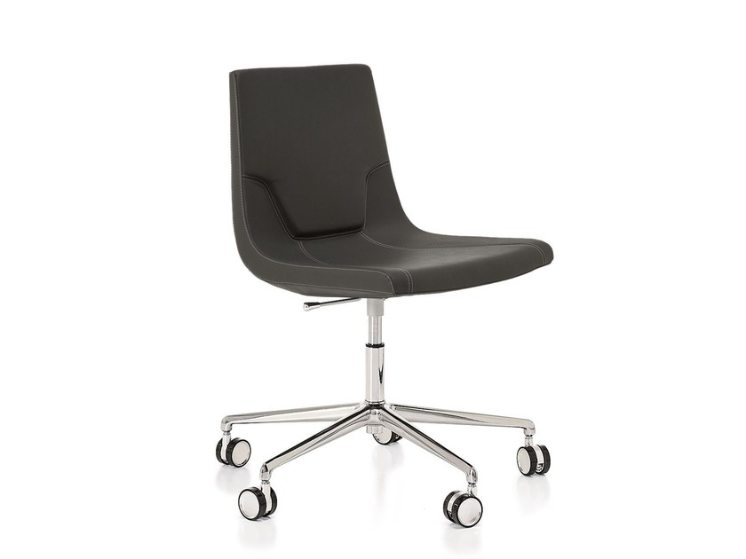 Swivel leather task chair with 5-Spoke base ELLE 48 | Task chair with casters - Emmegi