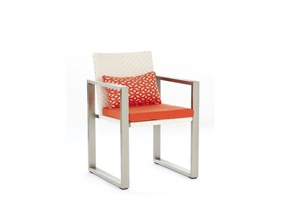 Sled base garden chair with armrests HARRISON | Chair with armrests by 7OCEANS DESIGNS
