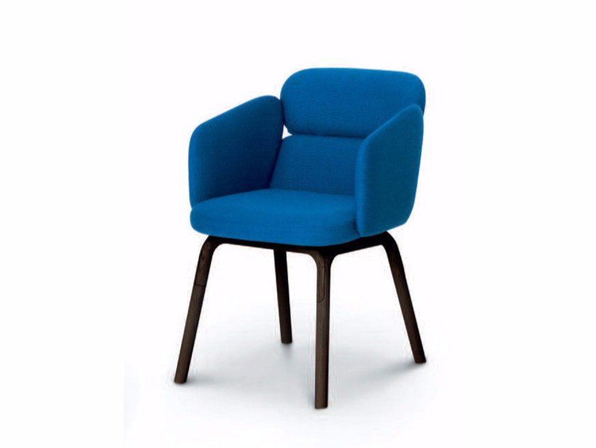Upholstered fabric chair with armrests BLISS | Chair with armrests - arflex