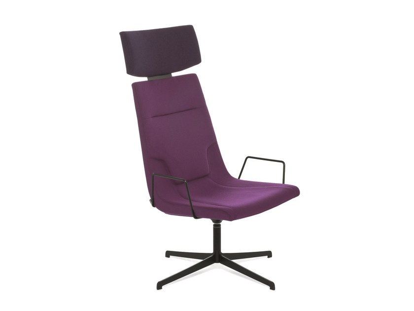 Swivel chair with 4-spoke base with armrests ELLE 65 | Chair with armrests - Emmegi