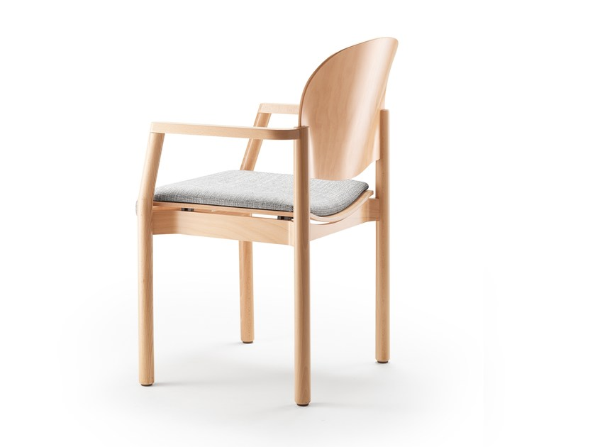 Upholstered stackable chair with armrests ELENA | Chair with armrests by rosconi