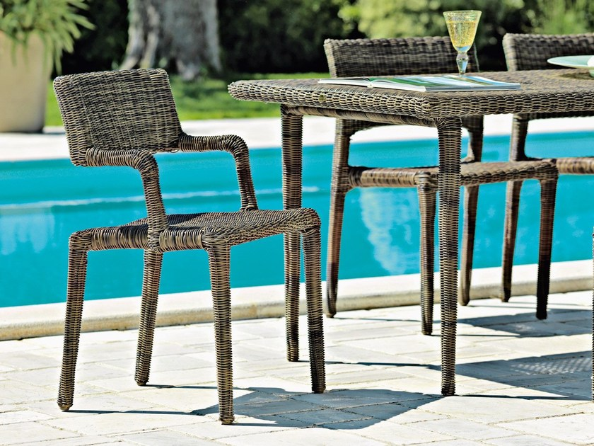 Synthetic fibre garden chair with armrests EDEN | Chair with armrests by Unopiù