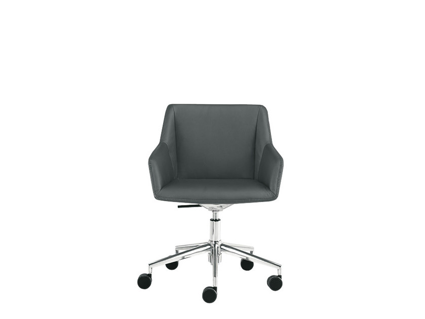 Leather chair with casters DAMA PLAIN | Chair with casters - Sesta