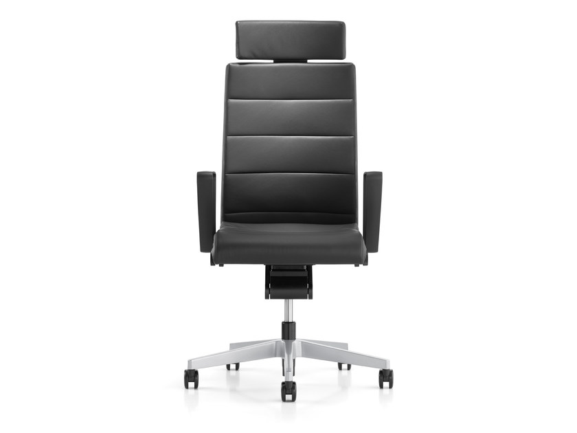 Swivel leather executive chair with headrest CHAMP 3C22 by Interstuhl
