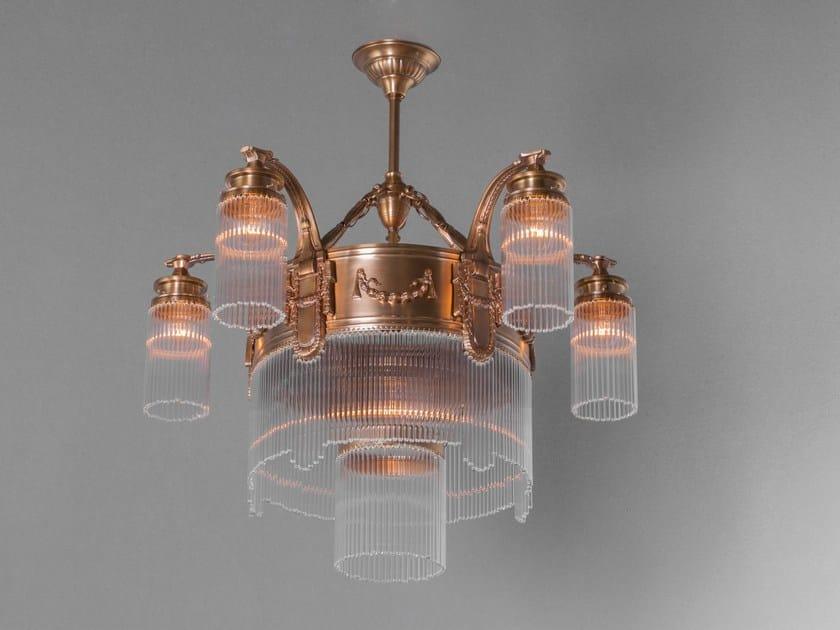 Lampadario a luce diretta in ottone STRASBOURG | Lampadario - Patinas Lighting