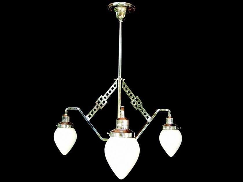 Lampadario a luce diretta fatta a mano in nichel HOFFMANN II | Lampadario - Patinas Lighting
