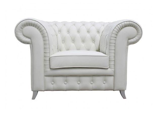 Tufted upholstered leather armchair with armrests CHAPLIN   Armchair - Ottiu