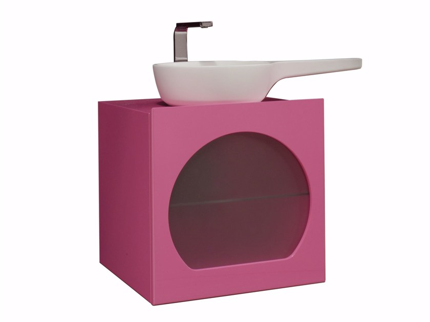 Mobile lavabo laccato sospeso in legno CHEF SET TWO | Mobile lavabo - LINEAG