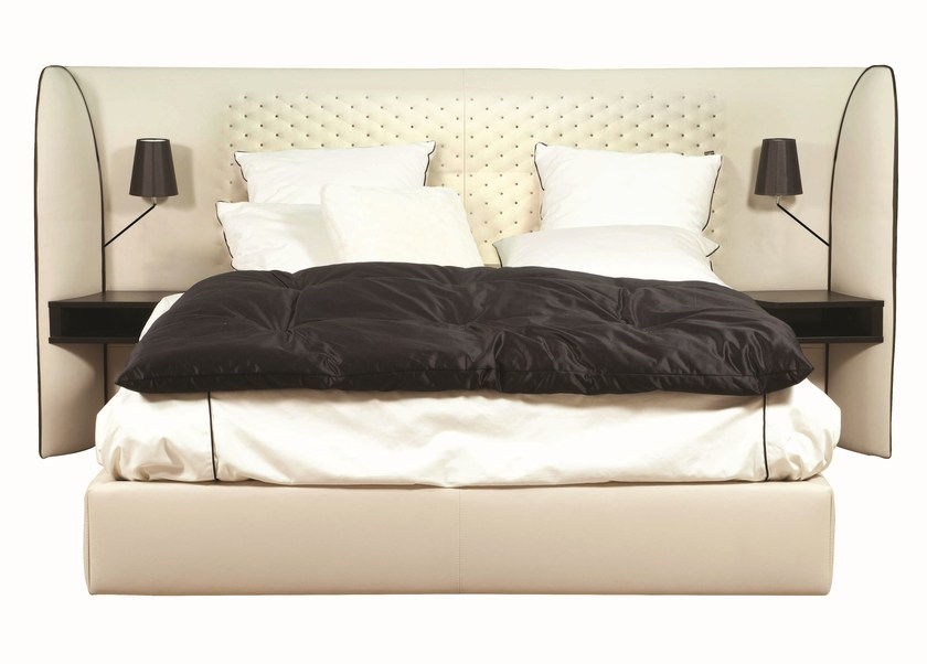 Tanned leather double bed with tufted headboard CHERCHE MIDI by ROCHE BOBOIS
