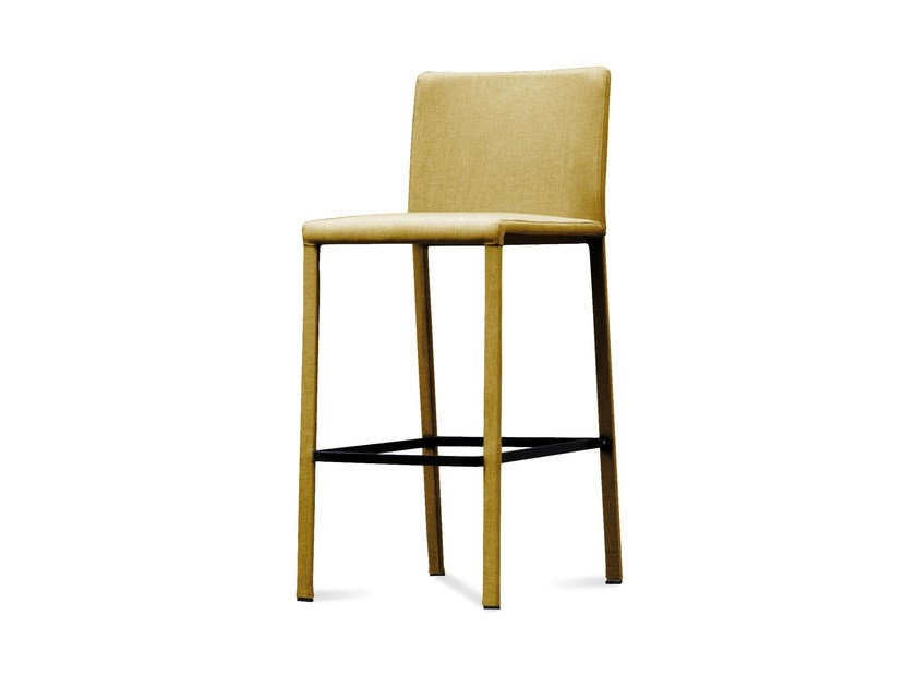 Upholstered fabric counter stool with footrest CHLOE | Stool - DOMITALIA
