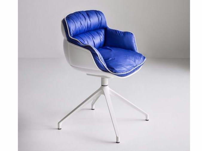 Upholstered trestle-based chair CHOPPY U - GABER