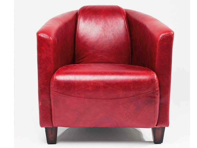 Classic style leather armchair with armrests CIGAR LOUNGE RED by KARE-DESIGN