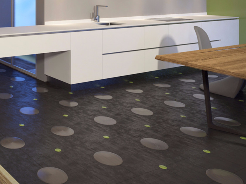 Porcelain stoneware and glass flooring CIRC by VETROVIVO