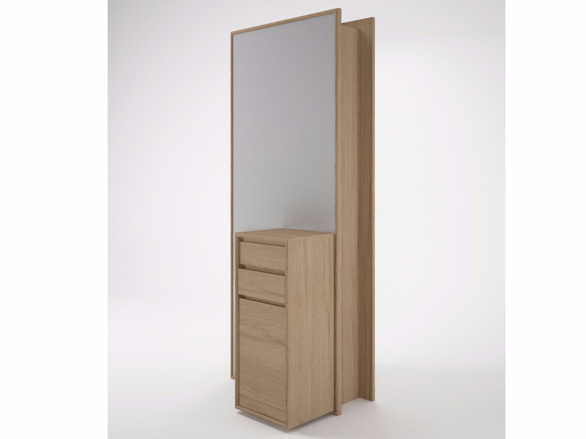 Wooden highboard with doors and mirror CIRCA17   Wooden highboard by KARPENTER