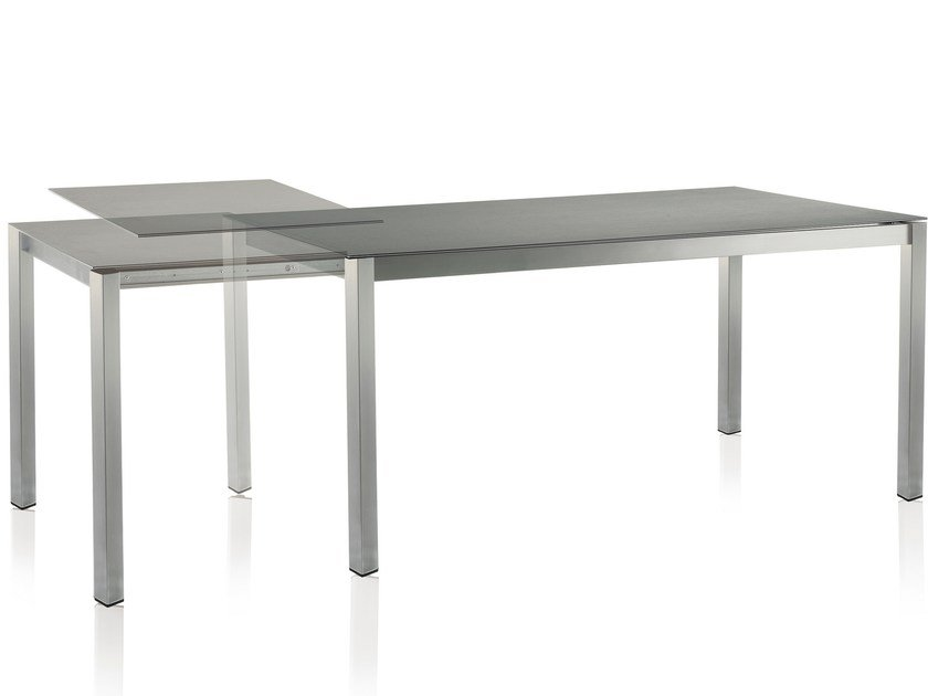 Extending rectangular ceramic garden table CLASSIC STAINLESS STEEL | Extending table - solpuri