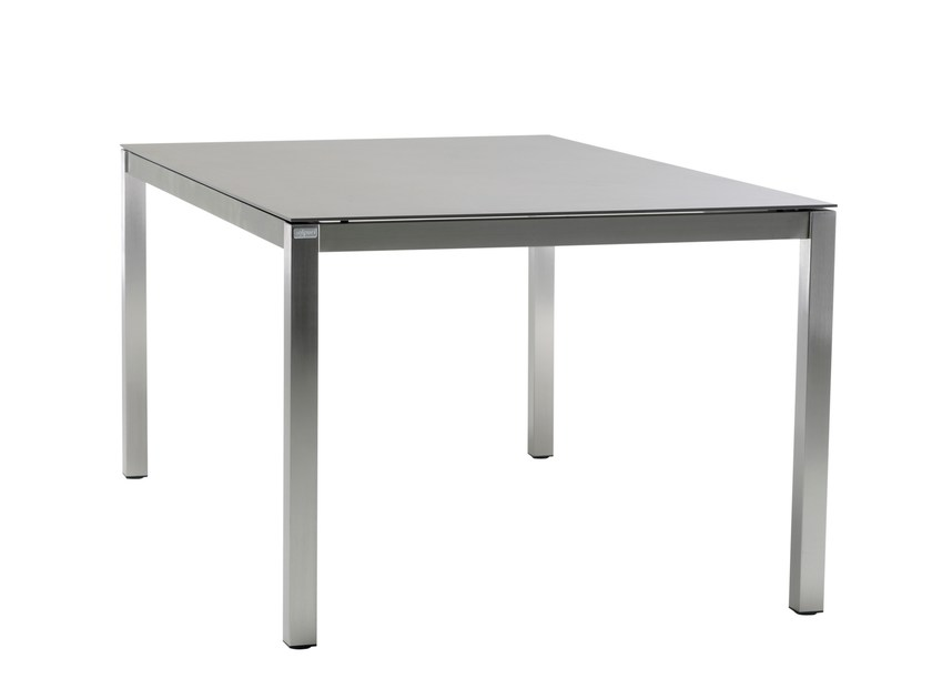 Square ceramic garden table CLASSIC STAINLESS STEEL | Square table - solpuri