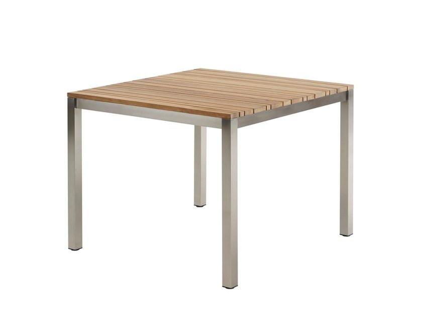 Square stainless steel and wood garden table CLASSIC STAINLESS STEEL | Stainless steel and wood table - solpuri