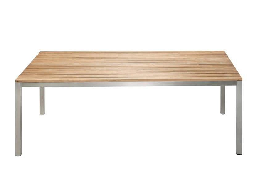 Rectangular teak garden table CLASSIC STAINLESS STEEL | Teak table - solpuri
