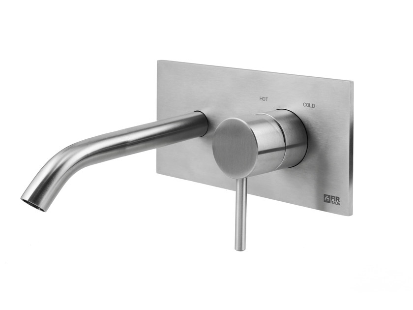 Wall-mounted stainless steel washbasin mixer with plate CLEOSTEEL 48 - 4810208 - Fir Italia