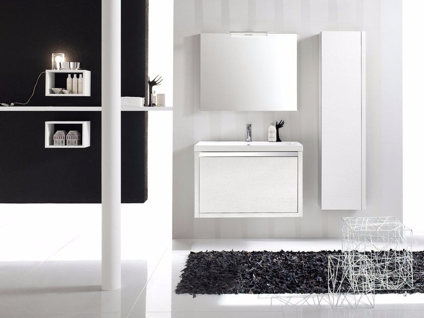 Laminate bathroom cabinet / vanity unit CLEVER - Composizione 5 by INDA®