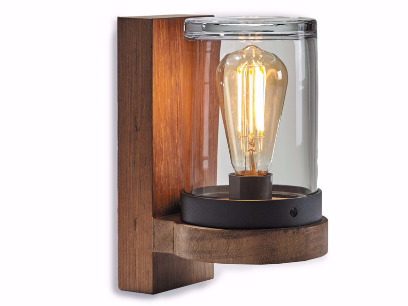 Lampada da parete a luce diretta in teak CLOCHE - ROYAL BOTANIA