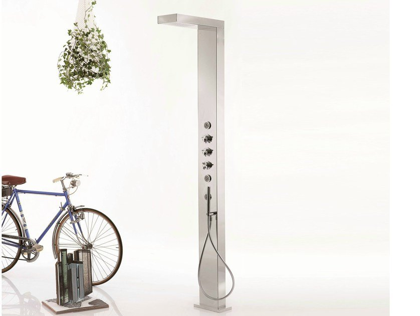 Floor standing shower panel with hand shower CLOCK WORK | Shower panel - RUBINETTERIE RITMONIO
