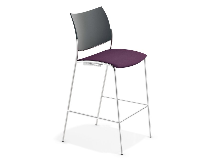 Upholstered fabric chair with footrest COBRA BARSTOOL | Chair by Casala