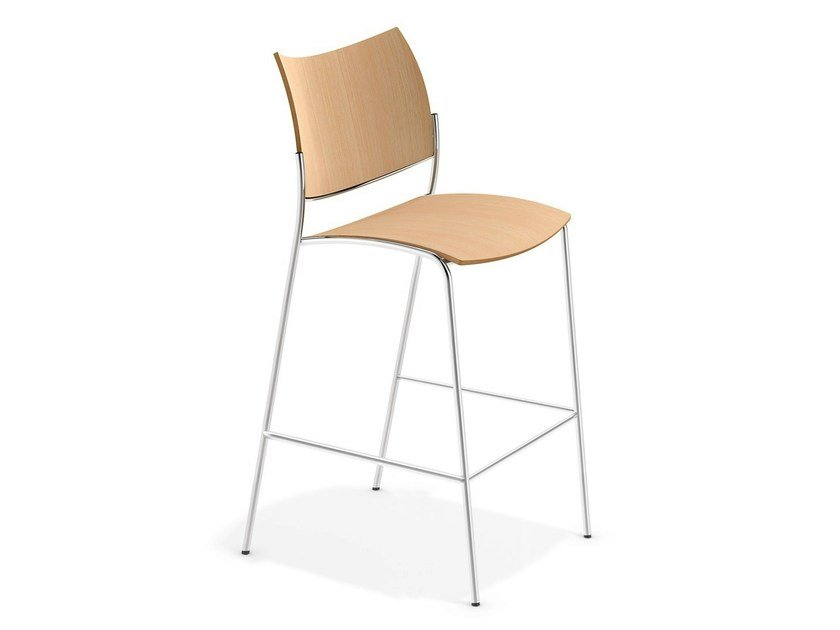 Stackable wooden counter stool with footrest COBRA BARSTOOL | Counter stool - Casala