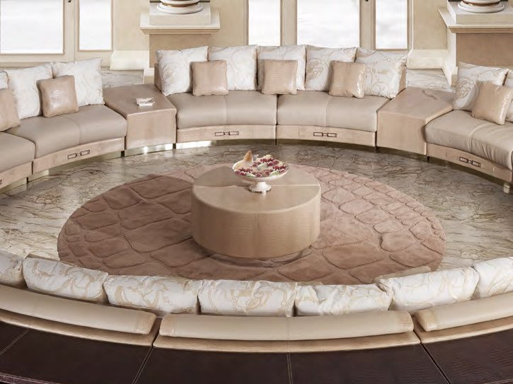 Low round leather coffee table for living room SITTING A'ROUND | Coffee table - Formitalia Group