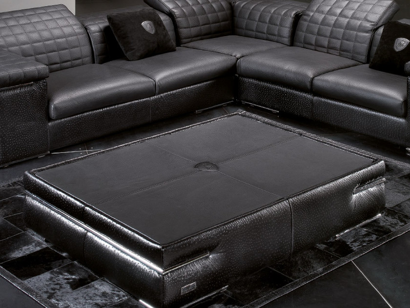 Low leather coffee table for living room BRISBANE QUILT | Coffee table by Tonino Lamborghini Casa