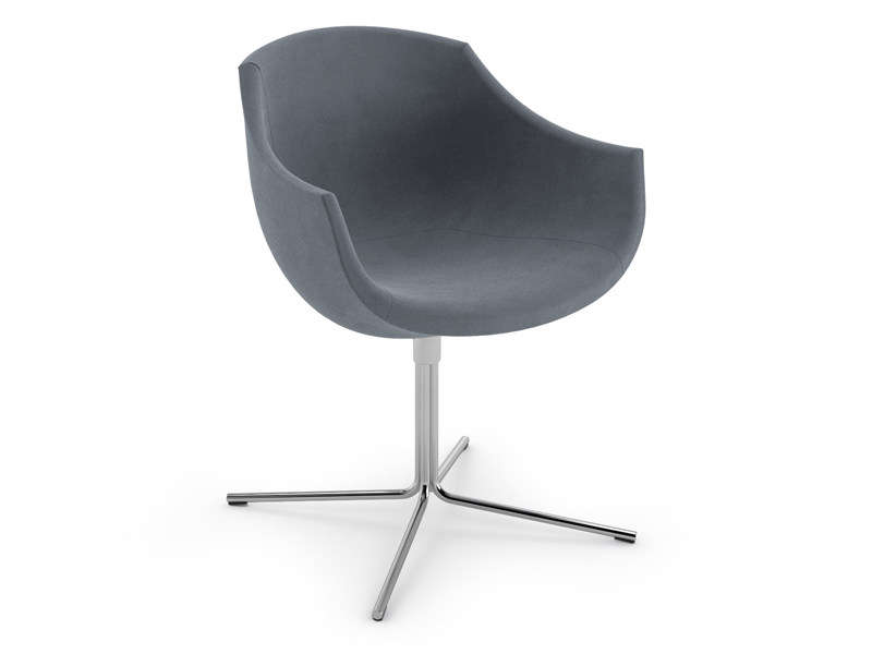 Fabric easy chair with 4-spoke base with armrests COLIMBAS | Fabric easy chair - CIZETA