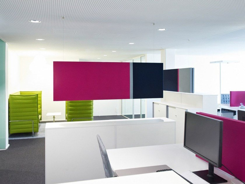 Fabric-based acoustic panels - suspended COLORS FIELDS | Acoustic baffles by Acousticpearls