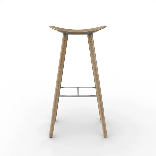 High stool with footrest COMA WOOD by ENEA