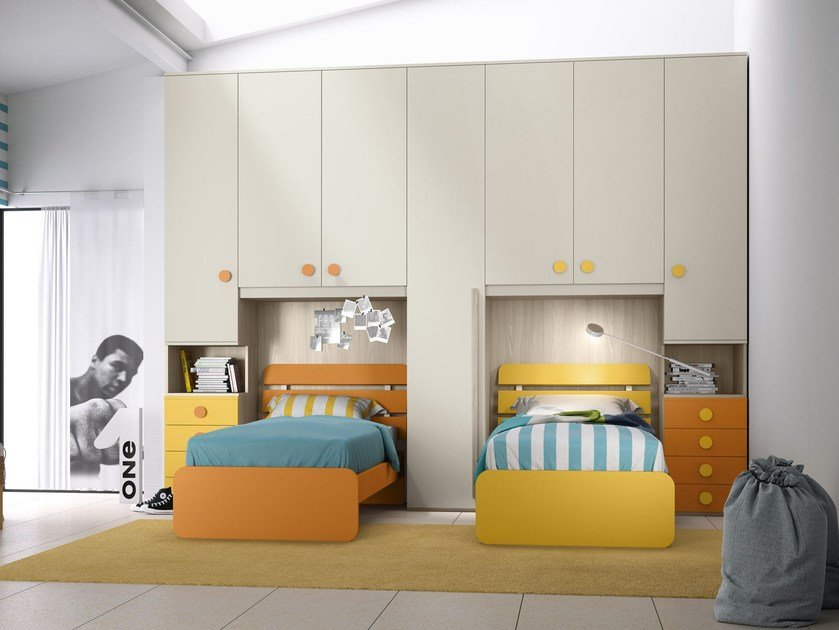 Bedroom set with bridge wardrobe COMPOSITION 12 by Mottes Mobili