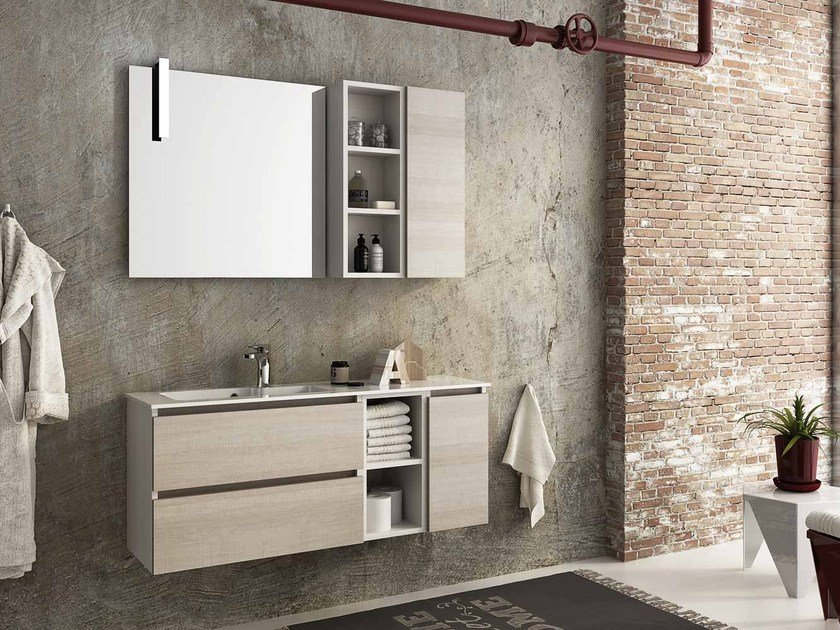 Wall-mounted vanity unit with drawers MODULAR 11 - LEGNOBAGNO