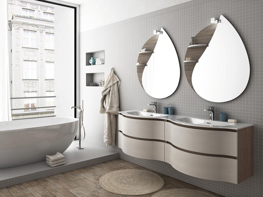 Double wall-mounted vanity unit with drawers MODULAR 8 - LEGNOBAGNO