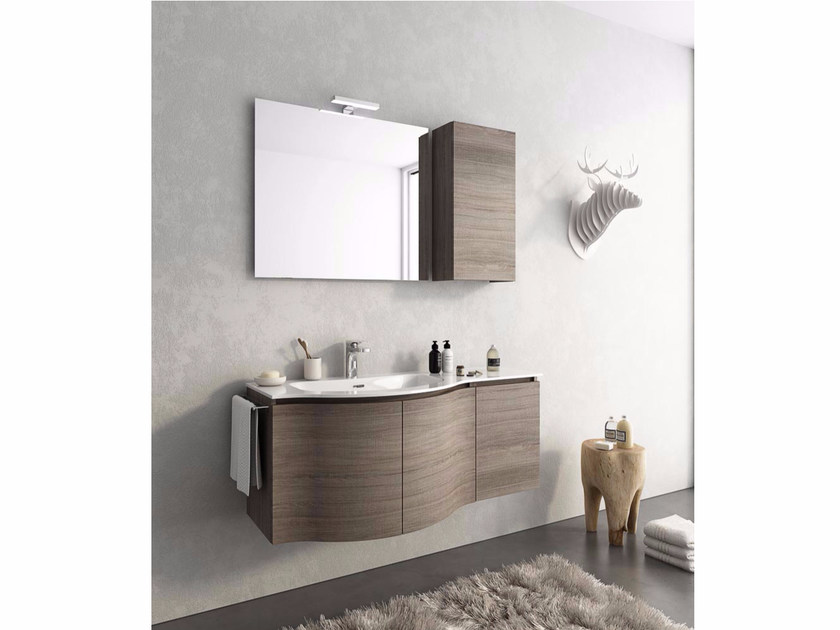 Wall-mounted vanity unit with doors MODULAR 9 by LEGNOBAGNO