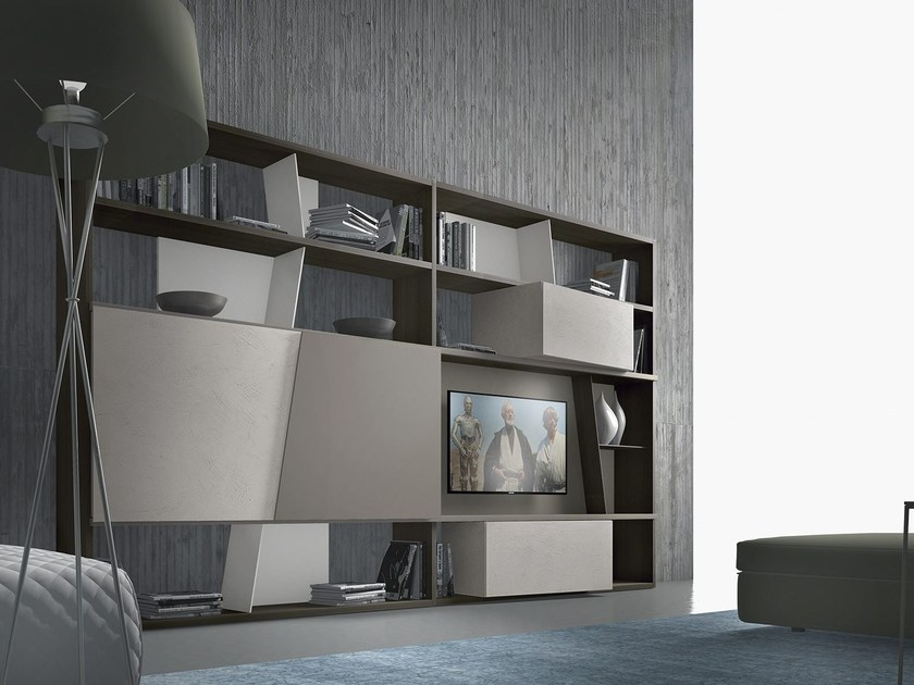 Sectional lacquered wooden storage wall CrossART - 504 - Presotto Industrie Mobili