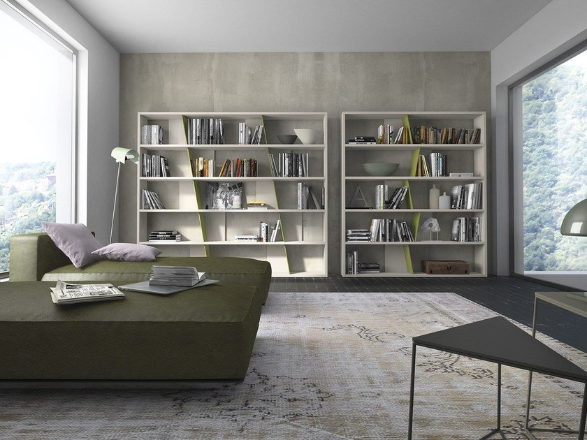 Open sectional modular wooden bookcase Crossart - 524/525 - Presotto Industrie Mobili