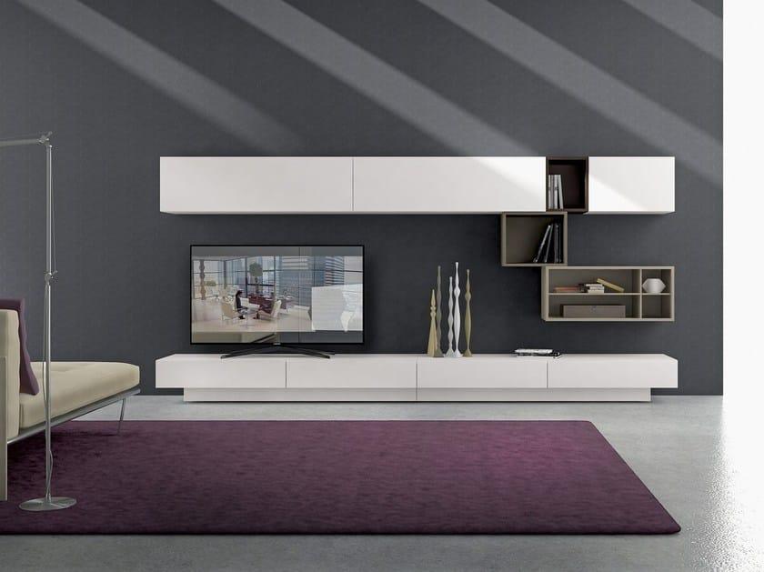 Mueble modular de pared composable montaje pared de madera for Mueble con soporte para tv