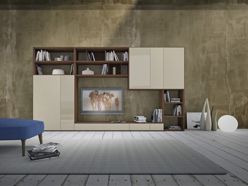 Sectional lacquered wooden storage wall Pari & Dispari - 343 - Presotto Industrie Mobili
