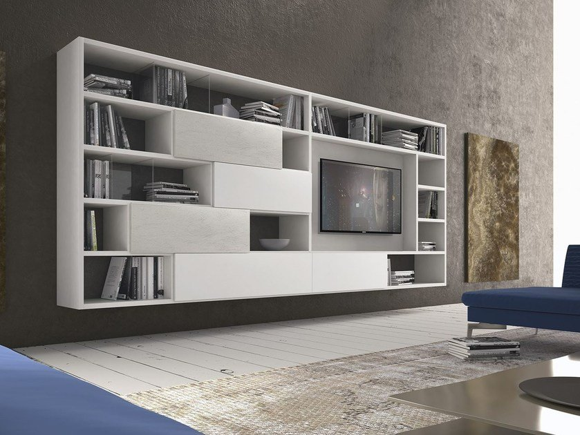 Sectional wall-mounted wooden storage wall Pari & Dispari - 344 by Presotto