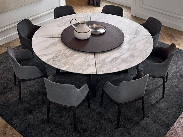 Round marble table with Lazy Susan CONCORDE | Marble table - Poliform