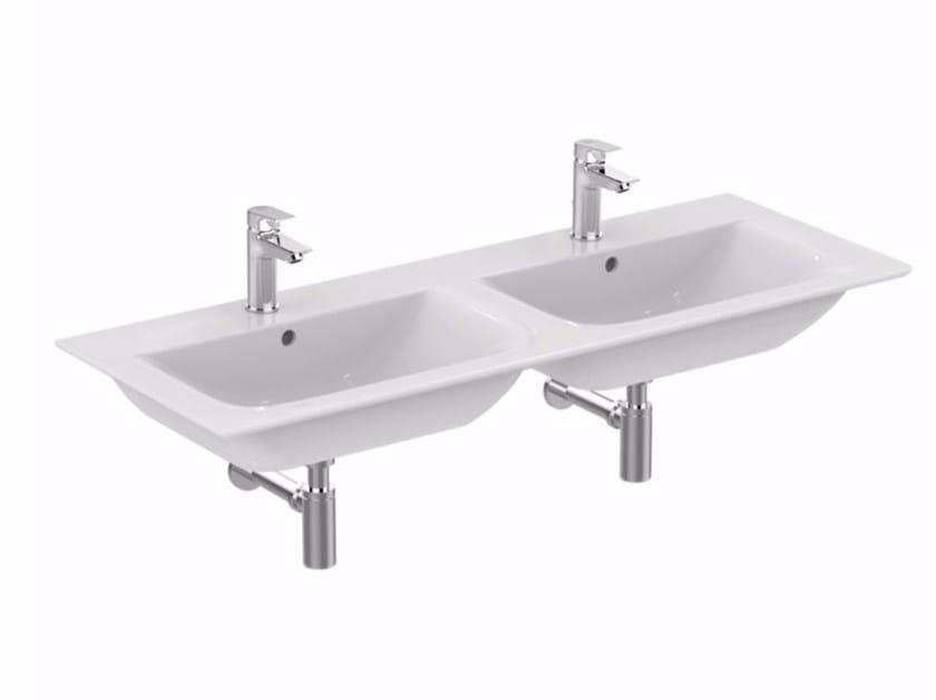 Lavabo da incasso soprapiano doppio rettangolare in ceramica CONNECT AIR - 120 cm - Ideal Standard Italia