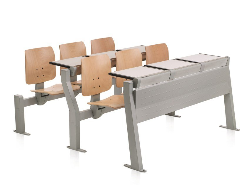 Study table with integrated chairs CONNEXION | Study table - Emmegi